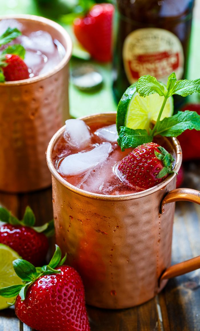 Strawberry Moscow Mules make a super refreshing summer cocktail. Made from ginger beer, vodka, lime juice, and fresh strawberries.