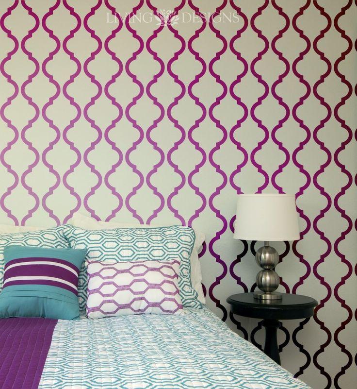 Las 25 mejores ideas sobre patrones de papel tapiz en - Plantillas de letras para pintar paredes ...