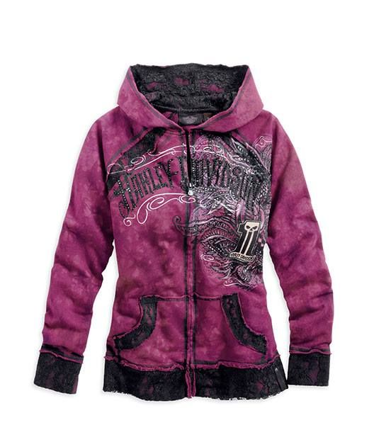 Harley-Davidson® Women's Black Label Crystal Wash Hoodie. Available in XS-S-M sizes. For $143.00
