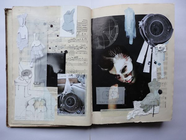 JESSICA - this example here shows the use of collage in visual journals. As seen the designer has cut up pieces that has inspired them in the making of a possible fashion item. Everything found here is cut from magazines and pasted and even stuck onto the diary. Other elements in this diary are hand drawn sketches, transparent paper and texture such as fabrics.