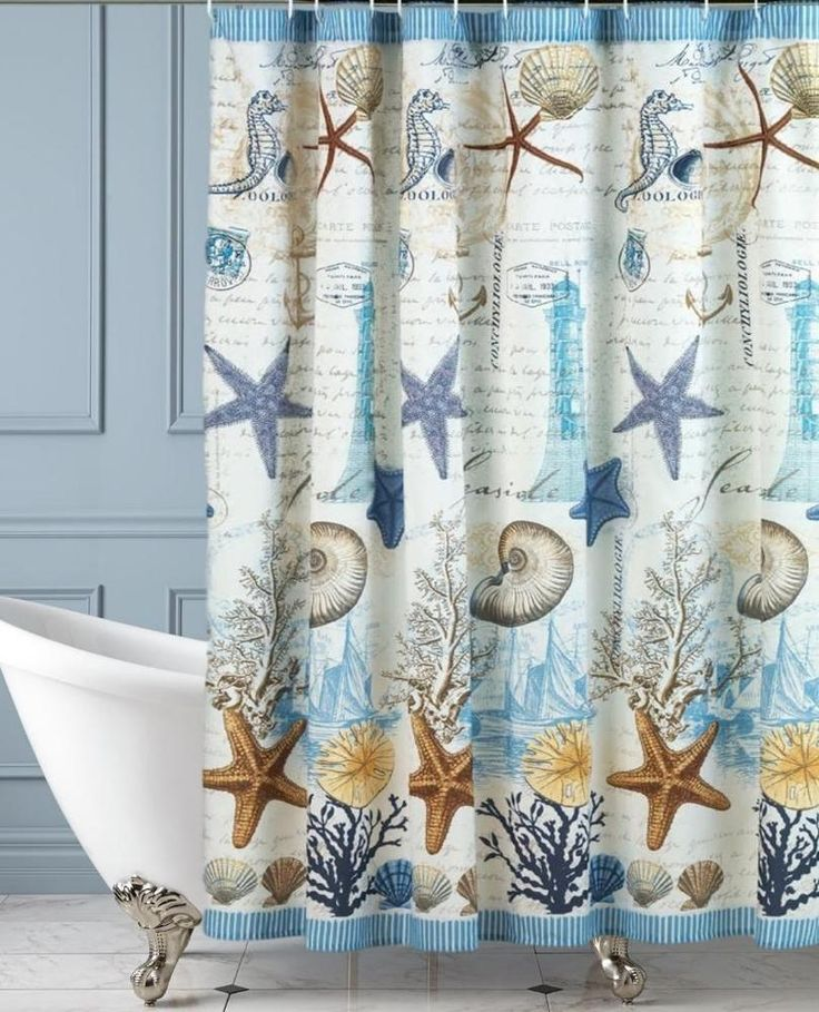Nautical Theme Seahorses Starfish Shells Fabric Shower Curtain Enchanted