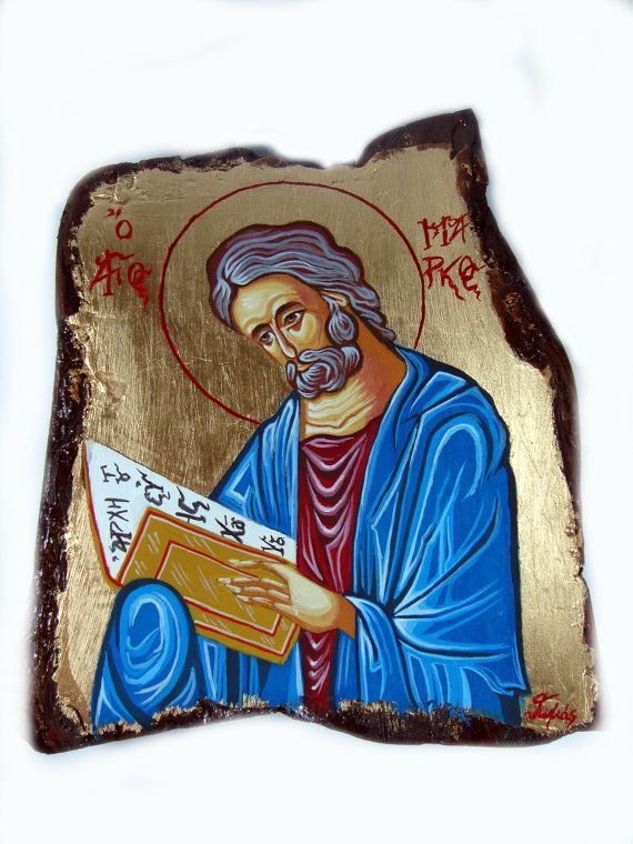 Evangelist Saint Mark - Αγιος Μαρκος - Original Handmade Byzantine Style Religious Greek Icon On Wood FREE SHIPPING