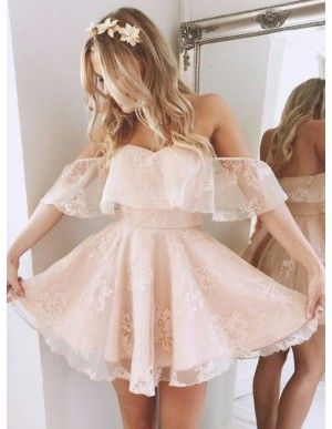 A-Line Scoop Long Sleeves Short White Lace Homecoming Dress