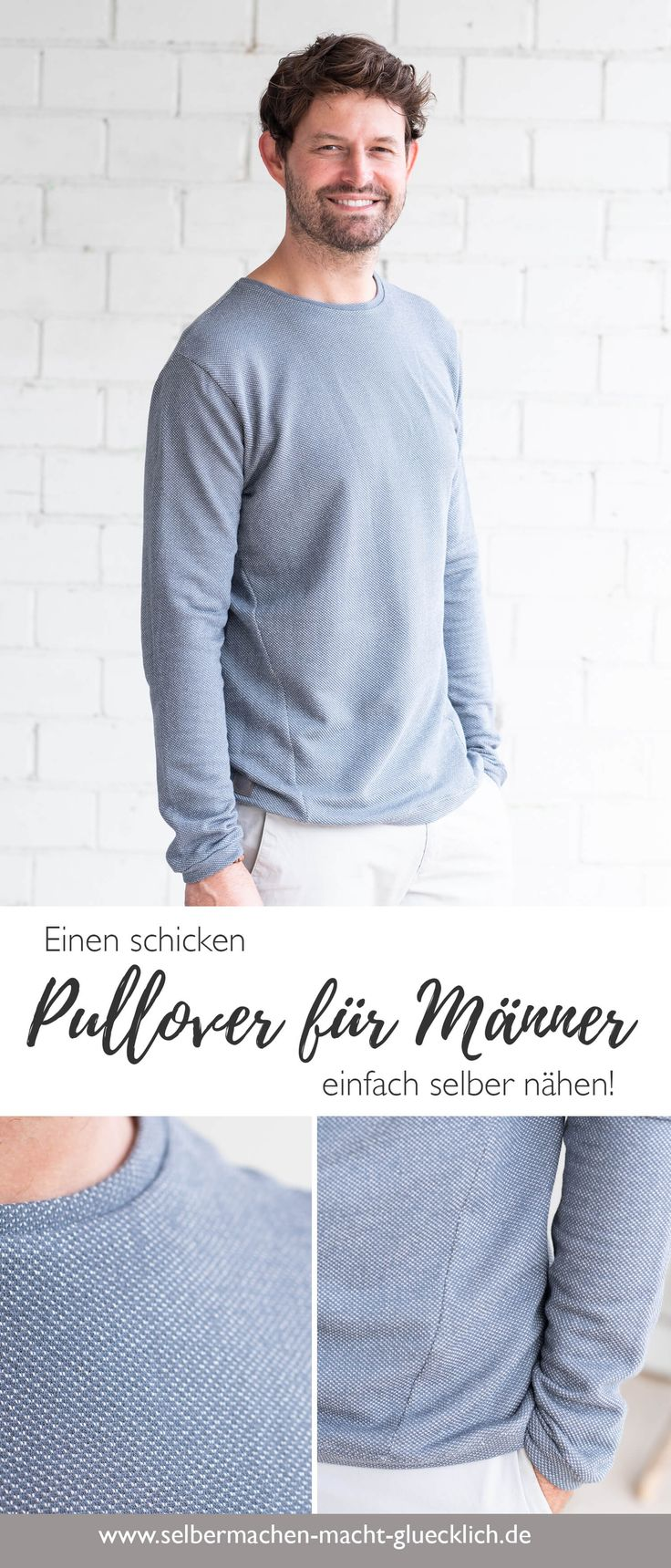 Einen schicken Pullover für Männer selber nähen. Dieses Schnittmuster ist sch...