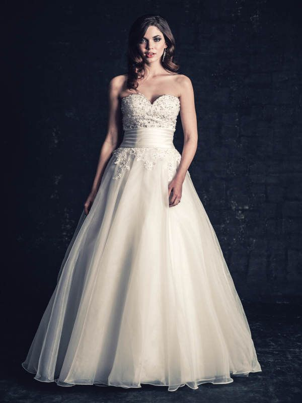 Ella Rosa BE203 Size 8 White Look fabulous for less! Visit www.bridaloutletofamerica.com for the best deals on gowns you love.