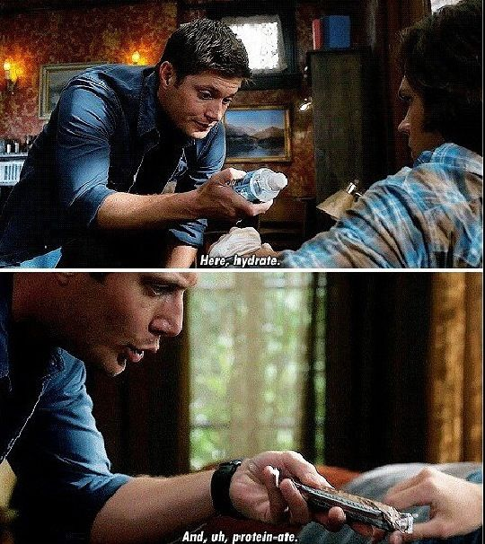 "Dean being all big brother-y, in his Deany way. ""Protein-ate."""