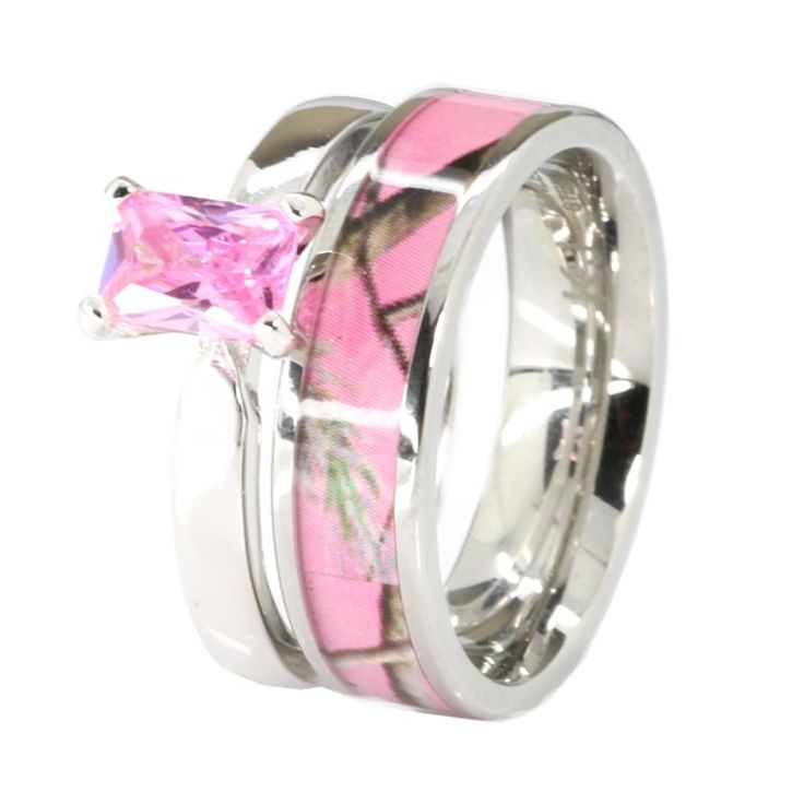 pink camo stainless steel band 925 sterling silver tourmaline wedding ring set - Pink Camo Wedding Ring Sets