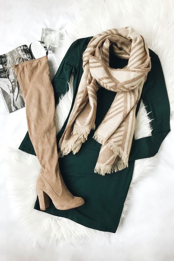Comeback Baby Forest Green Dress | minus the boots