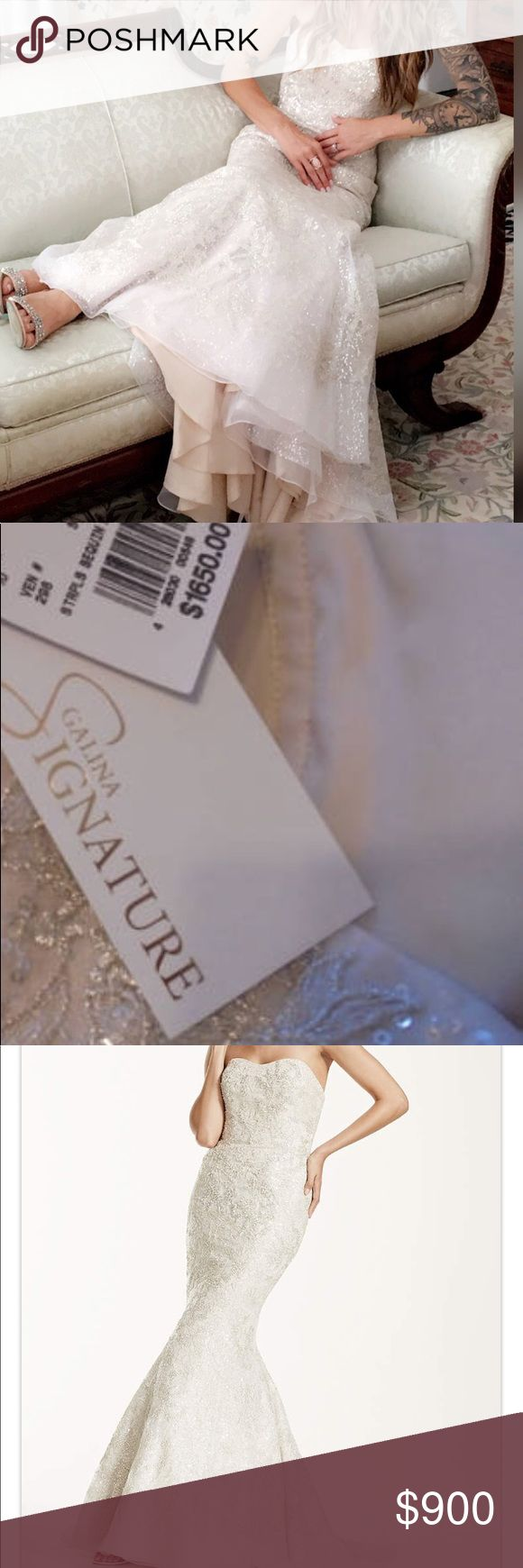 Galina Signature Wedding Gown This dress is breathtaking in person. Champagne color with a blush undertone. Size 2 altered to a 0. Has bustle. Dresses Wedding