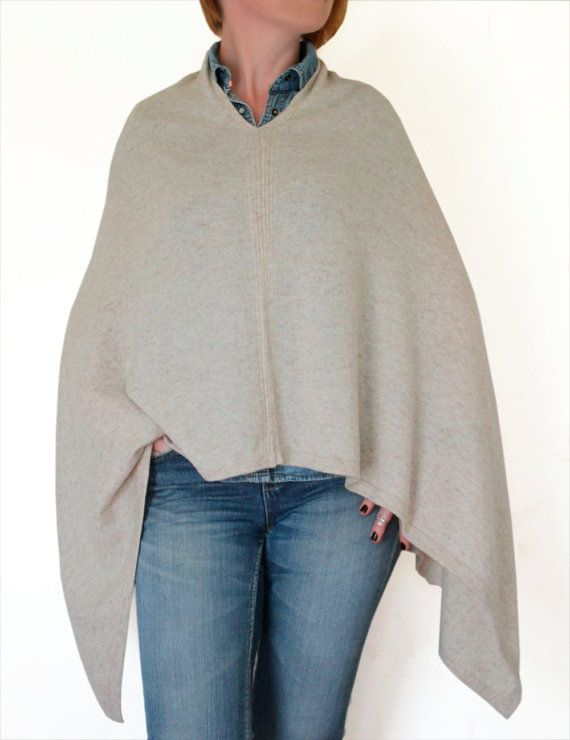 Light beige cashmere poncho cashmere poncho cashmere by CurryMoon