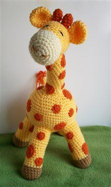 This cute amigurumi toy, Gilbert the Giraffe, would make a great gift for babies and toddlers!