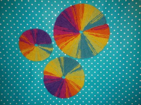 Set of 3 knitted multicoloured circle placemats for by MeowMeow31
