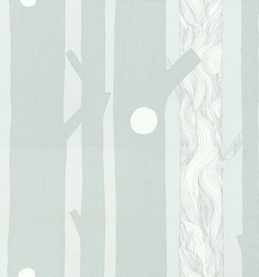 Aarni (13006) - Marimekko Wallpapers - Knotted trees blend beautifully with block filled trees in this whimsical forest wallpaper in shades of soft pale blue. The muted tones create a calm background for a bold design. Please order sample for true colour match. Wide width, paste the wall.
