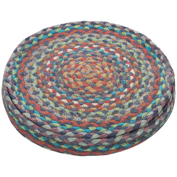 The Braided Rug Company Rope Round Placemats - Set of 6 - Carnival... ($57) ❤ liked on Polyvore featuring home, kitchen & dining, table linens, blue, blue placemats, circular placemats, blue round placemats, blue table linens and rope storage basket