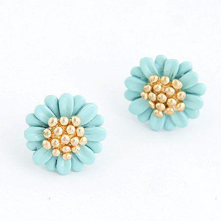 Pendientes Mujer 2017 Boucle d'oreill Femme Fashion Flower Earrings for Women Jewelry Gold Enamel Stud Earring Brincos Bjoux