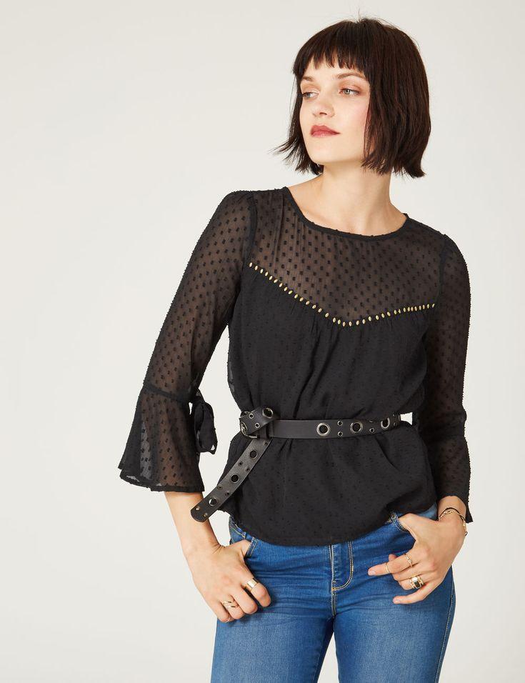 blouse plumetis et clous noire - http://www.jennyfer.com/fr-fr/vetements/chemises/blouse-plumetis-et-clous-noire-10016291060.html