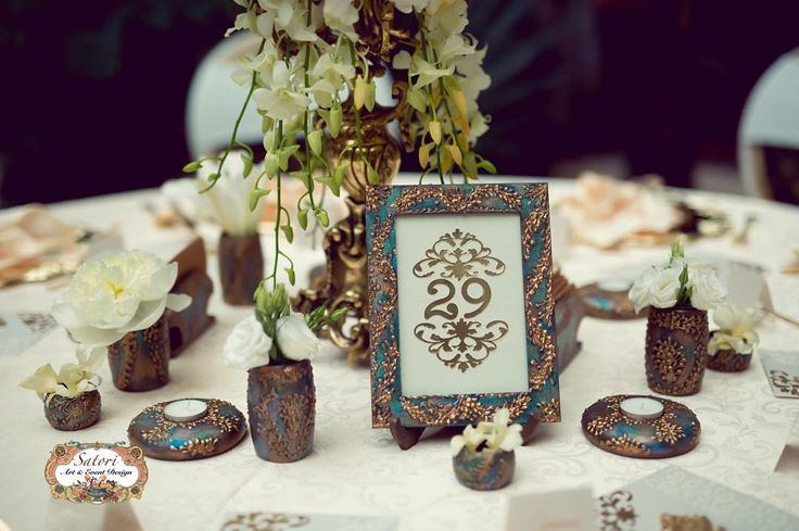 Royalty Wedding Decor - Green, Bronze, Peacock - Elegant, Vintage, European, Antique - Handmade - by Satori Art & Event Design