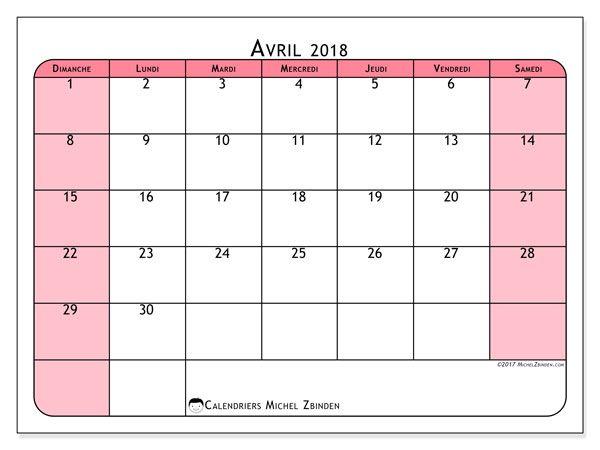 Calendrier avril 2018 (64DS). Calendrier gratuit à imprimer.