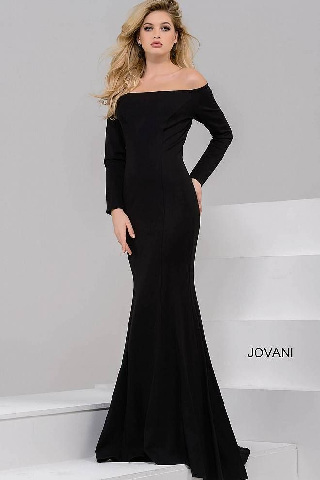 Black Long Sleeve Off the Shoulder Fitted Dress 42723