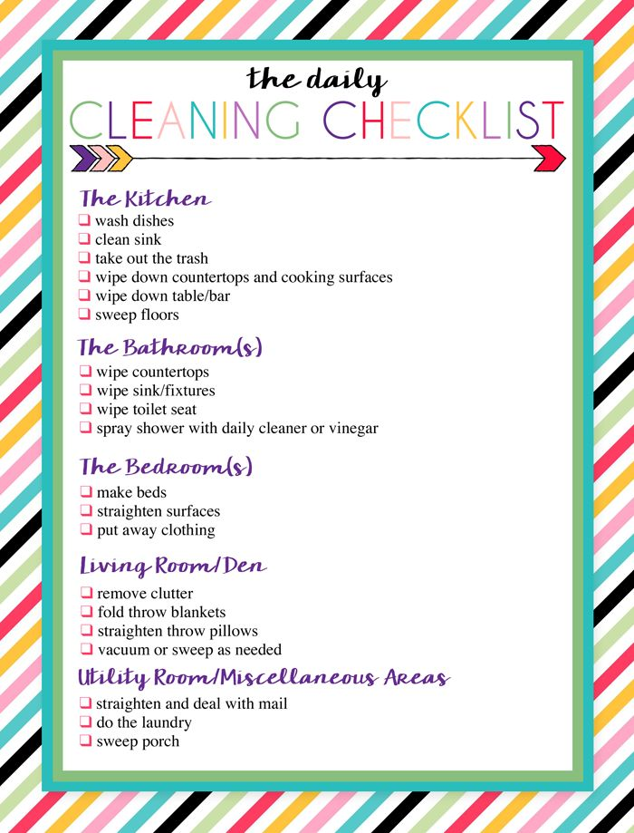 Classroom Design Guide ~ Free printable daily and weekly cleaning lists elf on