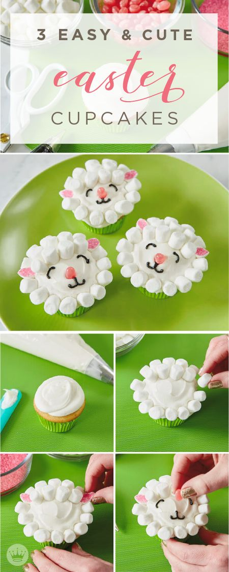 This Easter, offer to bring dessert to your family get together. These 3 easy and cute Easter cupcakes, inspired by Hallmark, are the perfect sweet treats for your holiday festivities. Click here to see step-by-step tutorials including this one for lamb cupcakes!