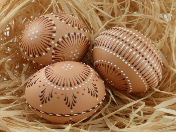 Easter Eggs Pysanky Set of 3 Decorated Brown Chicken by EggstrArt