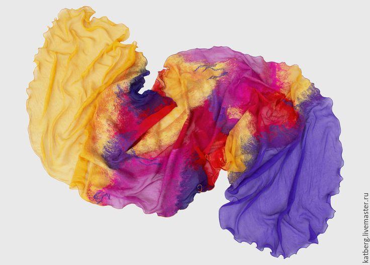 Купить Валяный шарф Цветок джунглей - легкий шарф, летний шарф, войлок, шарф валяный