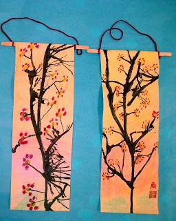 cherry blossom scrolls by Experiments in Art Education