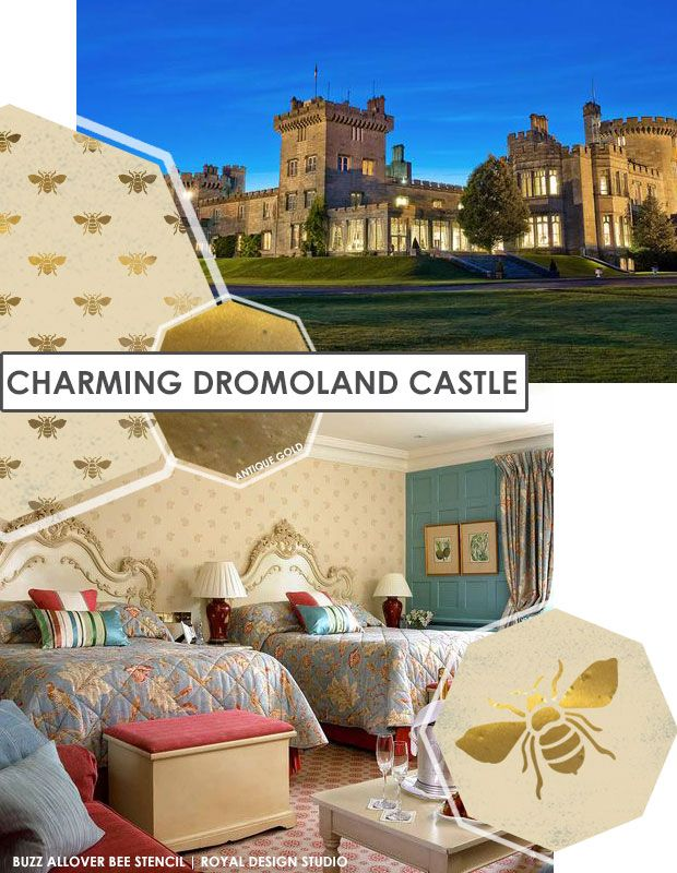 DIY Castle Royal Decor - Get the look with  Buzz Allover Bee Stencil from Royal Design Studio | Paint + Pattern
