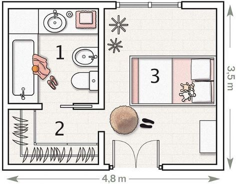 Les 25 meilleures id es de la cat gorie plan de chambre for Bedroom designs with attached bathroom and dressing room