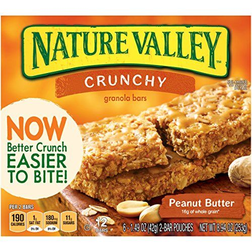 Nature Valley Crunchy Granola Bars, Peanut Butter (*contains small amount of soy flour, which should be tolerated by most)