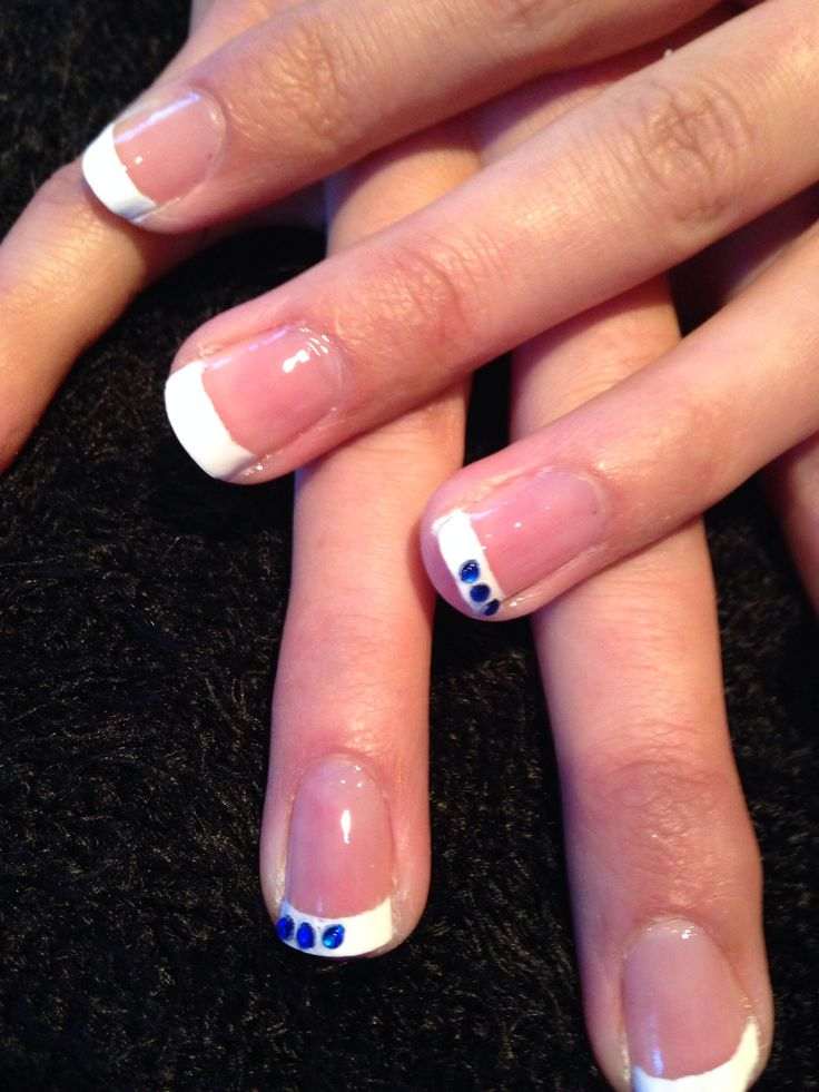 French Mani with blue rhinestone accents for Julia.