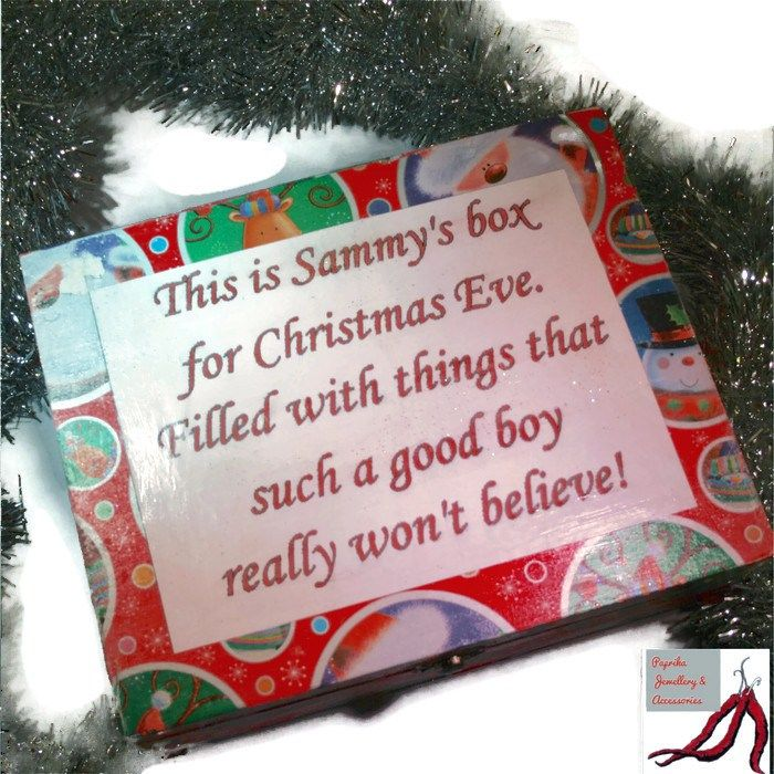 Wooden hand decorated Christmas Eve box & personalised poem - filled