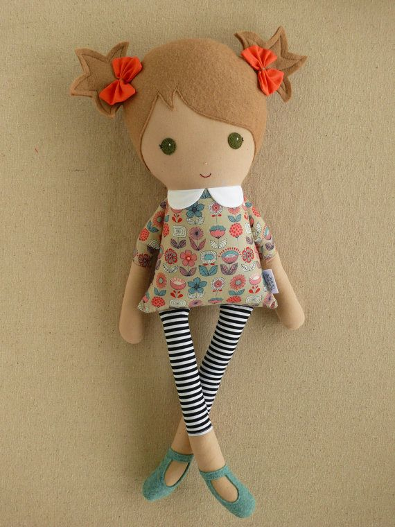 Reserved for Maria  Fabric Doll Rag Doll Girl in Retro Floral