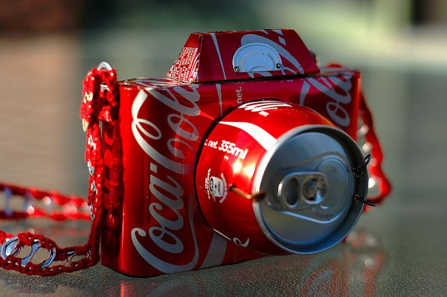 355ml prime lens, via Flickr.: Diy Ideas, Coca Cola, Crafts Ideas, Coke, Pop Cans, Garden, So Cool, Cocacola Cameras, Cans Art