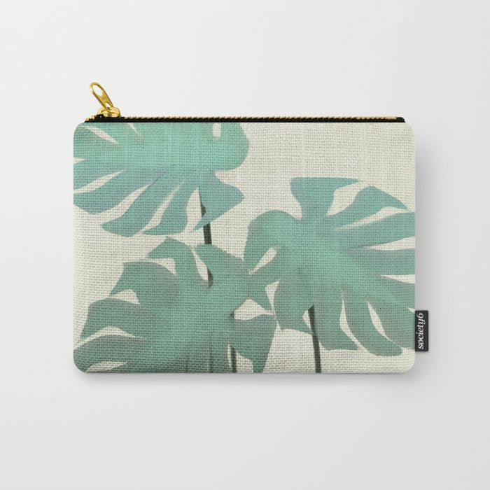 Tropical Monastera Leaf Nature Pouch, bag.Organize your life with our Carry-All Pouches. Available in three sizes with wraparound artwork, these pouches are perfect for toiletries, art supplies or makeup. Even an iPad fits into the large size. Features include a faux leather pulltab for easy open and close, a durable canvas-like exterior and a 50/50 poly-cotton black interior lining. Machine washable.
