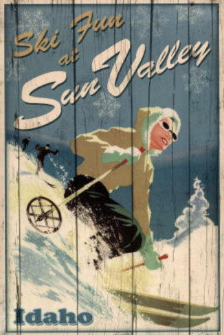 Ski Fun at Sun Valley Idaho Art Print Poster