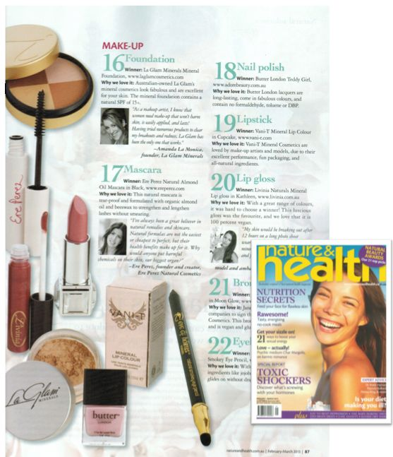 This months Nature & Health magazine has awarded our Vani-T Mineral Lip Colour as the best eco friendly lipstick - but we already knew that! We are honoured!
