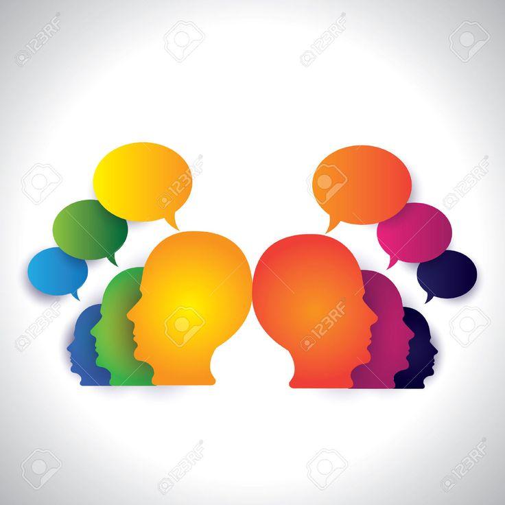 Gente Charlando, Discutiendo En Los Medios Sociales - Concepto De Vector Este Resumen Gráfico También Pueden Representar A La Reunión Del Equipo Directivo, Empleados Debates, Trabajo En Red, La Interacción Comunitaria, Chat En Internet Ilustraciones Vectoriales, Clip Art Vectorizado Libre De Derechos. Image 24193619.