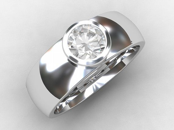 Men's modern wedding band with 0.50ct Diamond in stunning bezel setting by TorkkeliJewellery, $5790.00