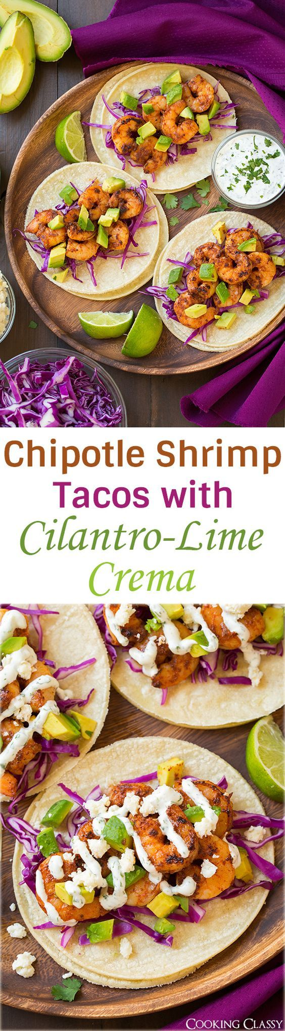 Chipotle Shrimp Tacos with Cilantro Lime Crema - these are easy, flavorful and seriously delicious!!: