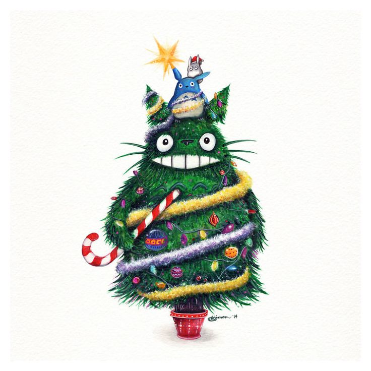 Christmas Totoro Painting By Simanion