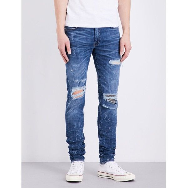 Amiri Distressed skinny-fit mid-rise jeans (990 AUD) ❤ liked on Polyvore featuring men's fashion, men's clothing, men's jeans, mens super skinny ripped jeans, mens skinny fit jeans, mens destroyed jeans, mens ripped skinny jeans and mens distressed jeans