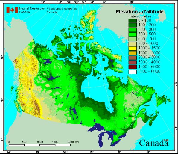 Canada Elevation Map Geography Pinterest - Elevation map of us