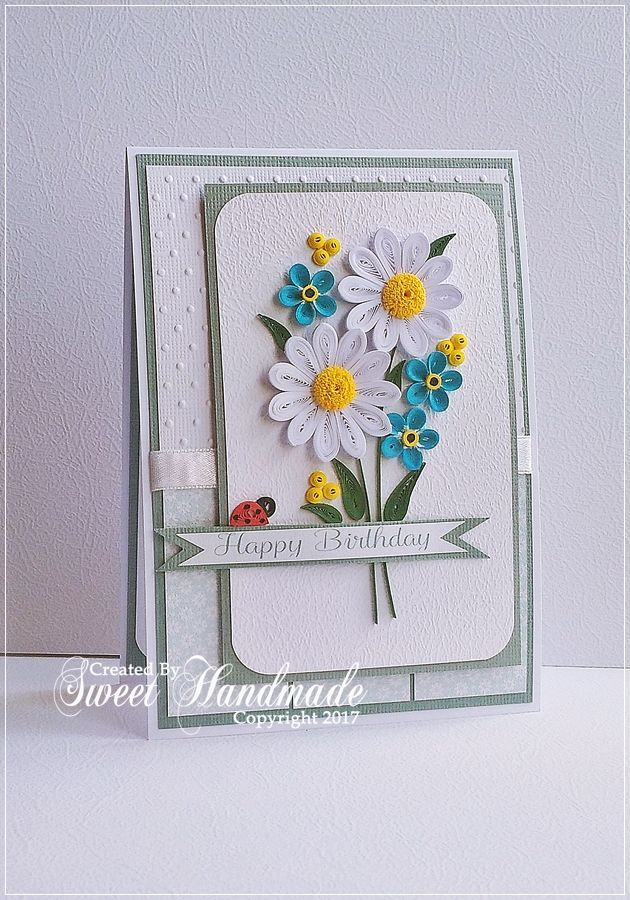 Happy flowers quilling handmade cards made with 1mm for How to use quilling strips