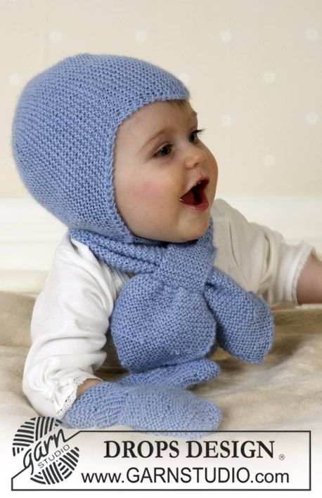 Baby Aviator Hat - Bonnet, Echarpet et Moufles en Drops Alpaca Modèle bébé tricot gratuit DROPS Baby 14-16