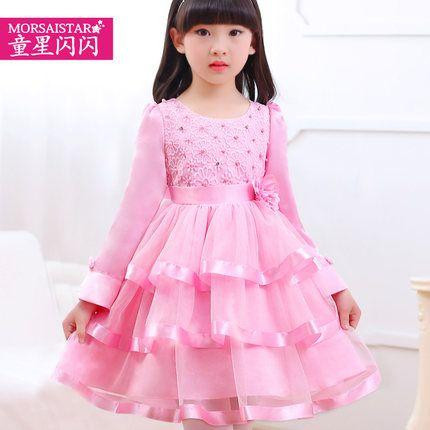 Ребенок-звезда светит Принцесса платье с длинным рукавом девушки тюль юбка торт платье ребенка девочка шоу платье юбка туту