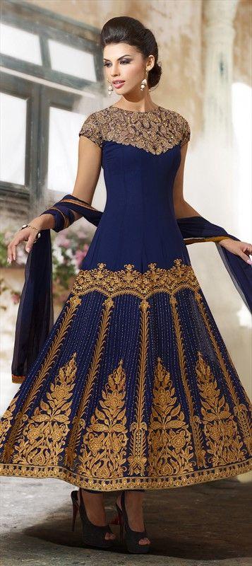 416656, Anarkali Suits, Viscose, Georgette, Resham, Moti, Stone, Lace, Blue Color Family