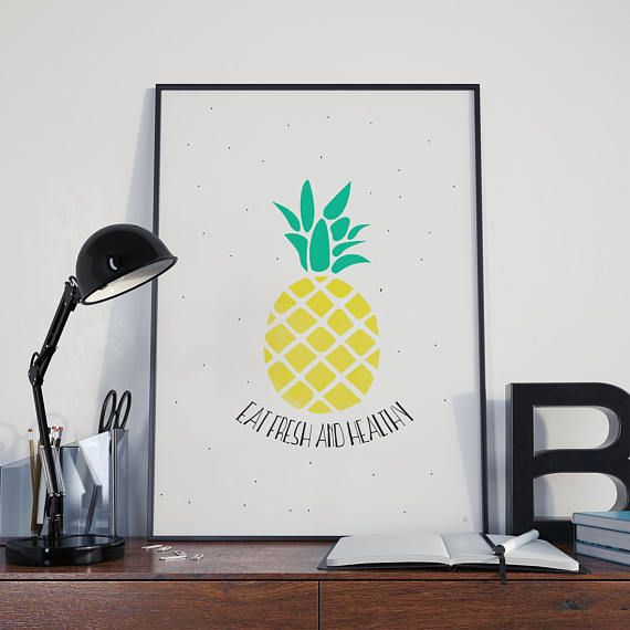 Affiche Ananas Eat fresh and healthy illustration et