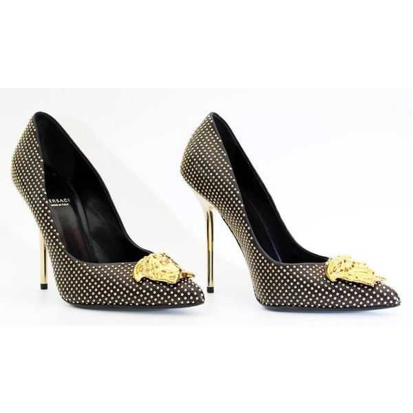 New Versace Palazzo Black Studded Leather Pump ($995) ❤ liked on Polyvore featuring shoes, pumps, black court shoes, studded high heel shoes, versace footwear, black pumps and high heel court shoes